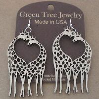 Giraffe Heart Green Tree Jewelry Natural Laser-cut Wood Earrings 1069