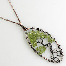 Natural Peridot Chip Beads Tree of Life Copper Olivary Pendant Necklace