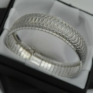 925-Sterling-Silver-Wide-amp-Heavy-Vintage-Diamond-Cut-Domed-Strap-Design-Bracelet