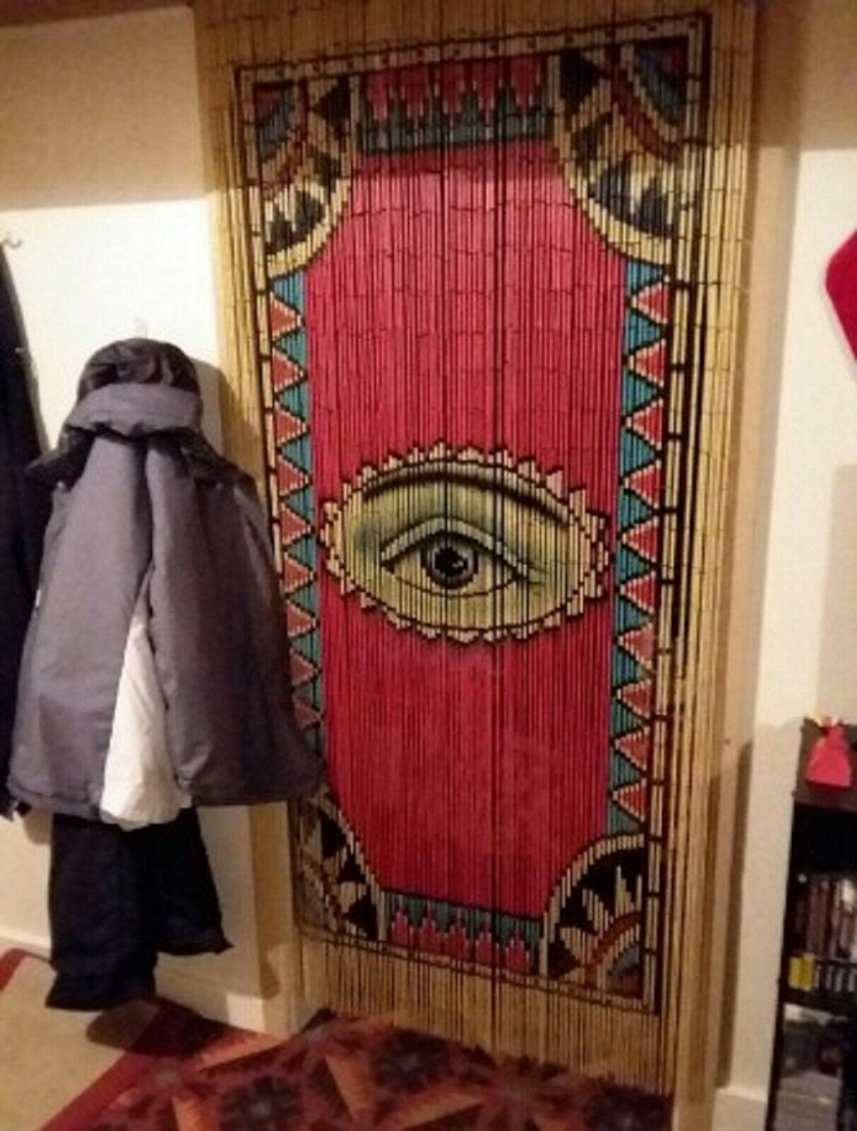Bamboo Beaded Door Curtain Moon Night Beach On Colorful Background For Sale Online Ebay