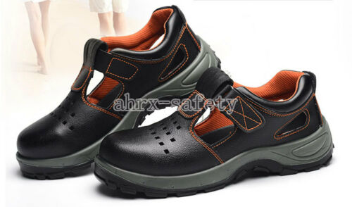 Men/'s Leather Safety Shoes Steel Toe Work Boots For Summer 2 Colors