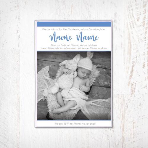 Christening Invitation Personalised Blue Naming day Boy Baptism Invitations