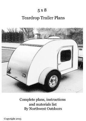 5x8 Teardrop Camp Trailer Plans - Printed Copy Plus CD-R & More! Build A Trailer