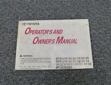 Toyota 8fgcu30 8fgcu32 8fgcsu20 Forklift Lift Truck Owner Operator Manual