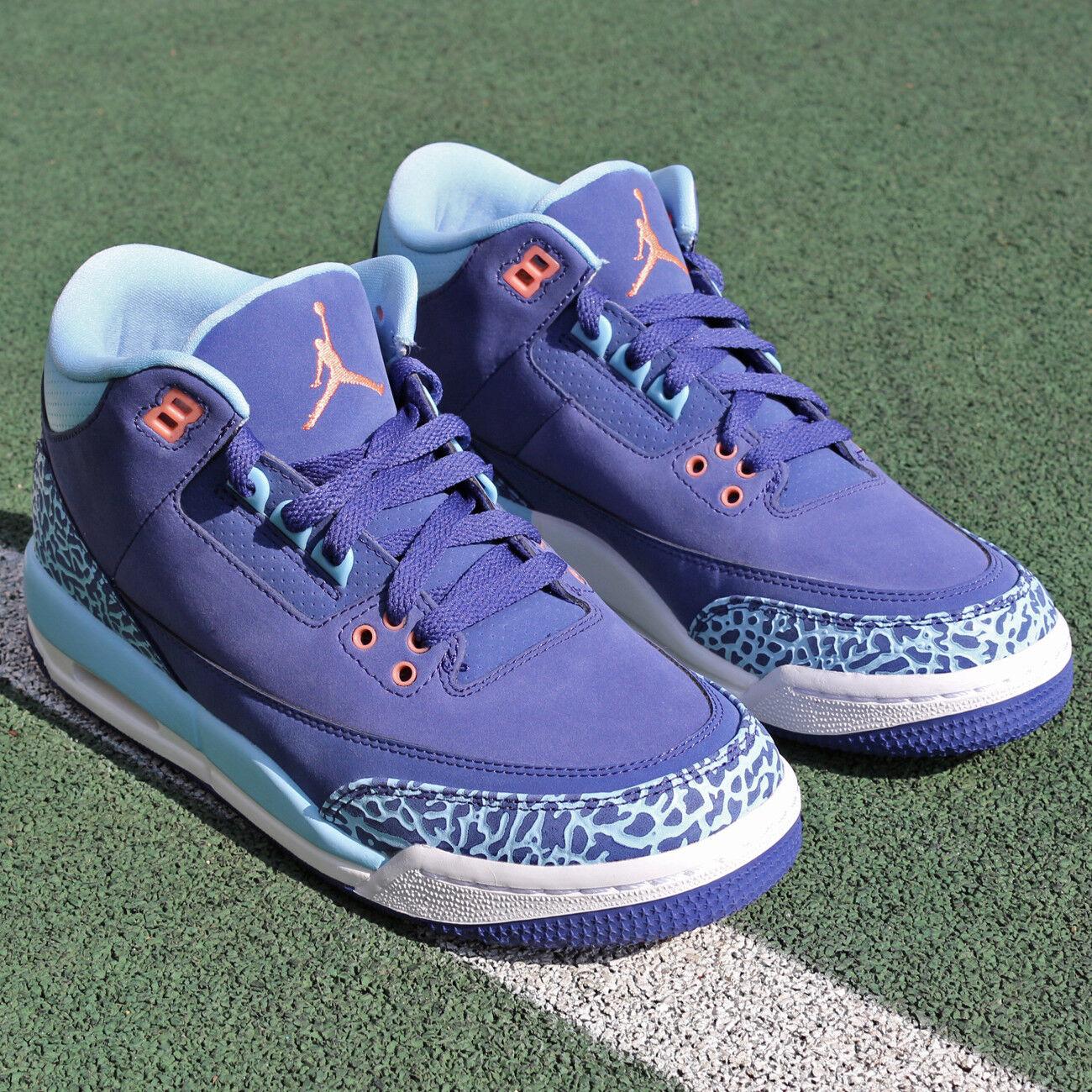 Air Jordan 3 3 3 GG 441140-506 Purple Dust Pink Blau Weiß Damens Girls Kids Youth GS ba370d