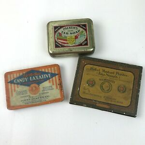 Vintage-Lot-of-3-Tins-Boxes-Laxative-Tar-Soap-Mustard-Plaster