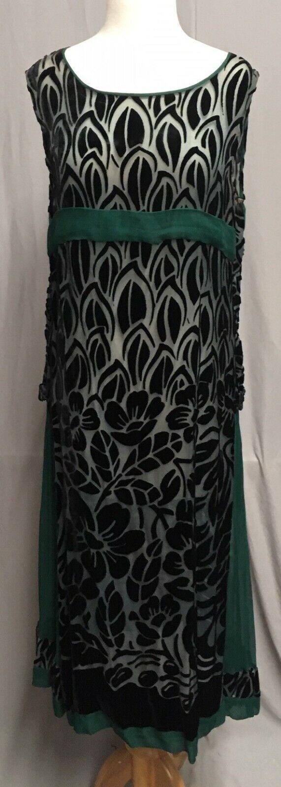 #20-217, 1920's Black & Blue Cut Velvet with Forest Green Silk Chiffon Dress