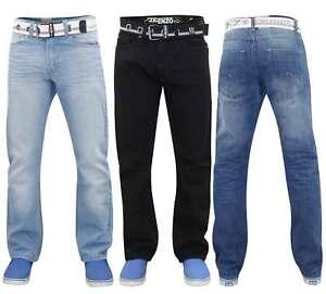ENZO-Hombres-Denim-Jeans-Regular-Fit-Algodon-Pantalones-Pantalones-Gratis-cinturon-Big-amp-Tall