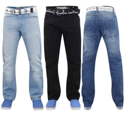 Enzo Men Denim Jeans Regular Fit Cotton Trousers Pants Free Belt Big /& Tall Size