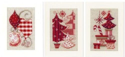 Vervaco 3 Stück Weihnachtskarte Stickset Kreuzstich   KKPN0146572