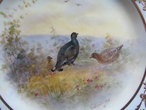 ROYAL-DOULTON-SIGNED-HOLLOWAY-9-034-HP-BIRDS-DISPLAY-PLATE-BIUCK-GROUSE-Ref3491