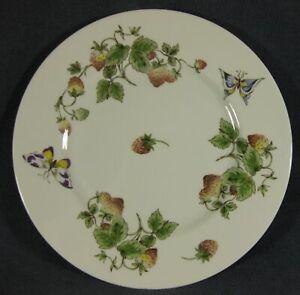 Coalport-Strawberry-Dinner-Plate-Smooth-Bone-China-England-Butterflies-Vines