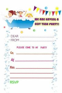 JACUZZI POOL PARTY BIRTHDAY PARTY INVITATIONS X 10 PERSONALISED HOT TUB