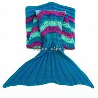 Handmade Soft Crocheted Mermaid Tail Blanket Knitting Child Kids Sofa Sleep Bag