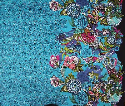 "Blue Cotton Fabric Floral Printed Designer 42""d Dressmaking Fabric By 1 Metre"