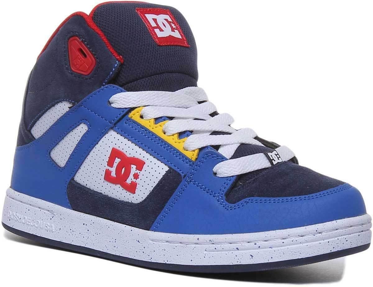 DC schuhe Pure Youth Leather Navy rot Trainers UK Größe 3 - 6