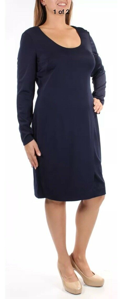 RALPH LAUREN  Womens New Navy Long Sleeve Shift Formal Dress 12-14-16