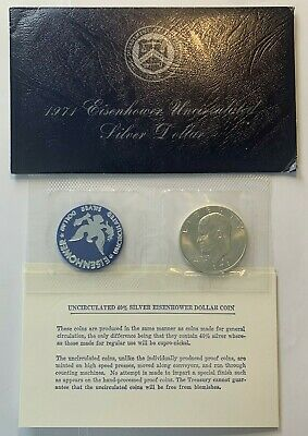 Lot of 4 Eisenhower Uncirculated 40/% Silver Dollars Blue Envelope Eisenhower