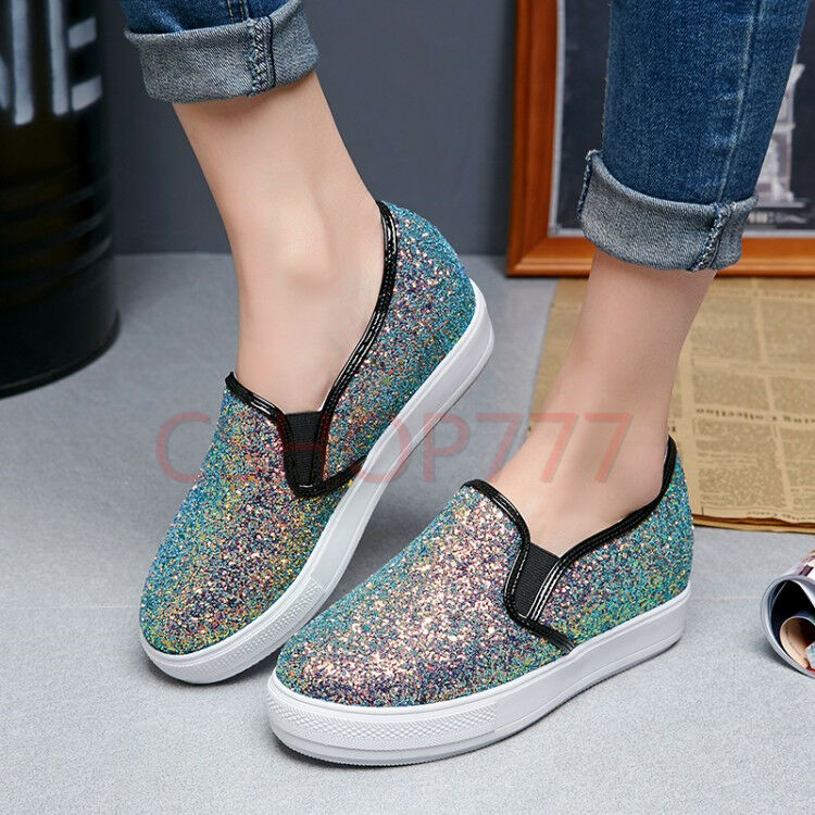 Womens stylish sequins csual slip on flat loafers spring plus SZ shoes lady new