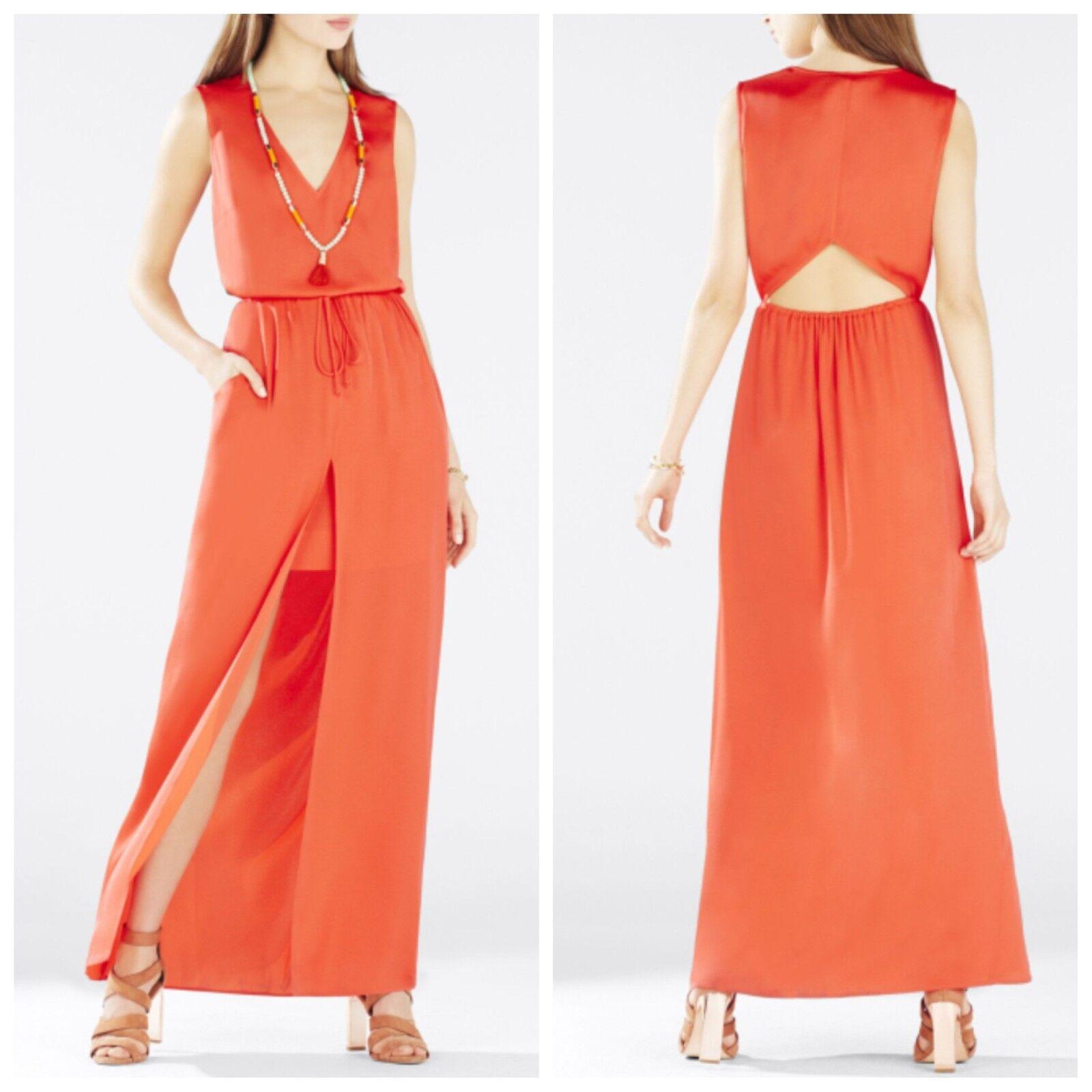 NEW BCBG BT.POPPY TAREN Slit-Front Drawstring Dress L   JUF61E64