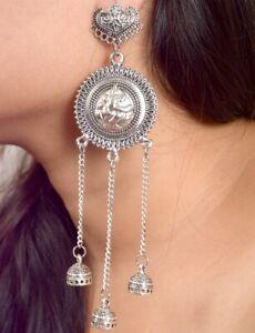 Kashmiri Mugal Bollywood Indian Silver Oxidized Jhumka Jhumki Afgani Earrings