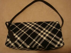 16b7a204fac9 Image is loading Authentic-Black-amp-White-Check-Plaid-Burberry-Wool-