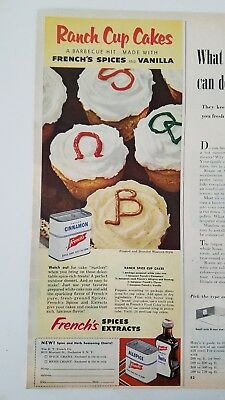 1952 French's Spices Extracts Tins Ranch Cupcakes Western-style Ad Easy And Simple To Handle Advertising