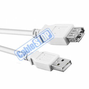 3-Metre-WHITE-USB-EXTENSION-Male-to-Female-PC-Laptop-Printer-Computer-Cable-3m