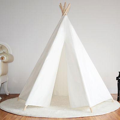 Hexagonal Cotton Canvas Kids Girls White Teepee Indoor Outdoor Tent w/ Floor Mat