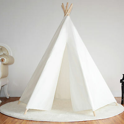 Hexagonal Cotton Canvas Kids Girls White Teepee Indoor Outdoor Tent w/ Floor Mat
