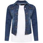 Womens Mid Wash Jeans Coat Denim Plus Size XL Long Sleeve Jacket UK 10-18