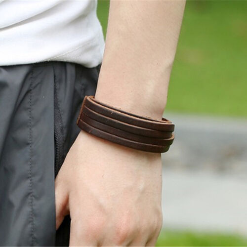 Wristband Jewelry Men Women Unisex Multi Thong Braided Genuine Leather Bracelet