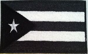 Puerto-Rico-Flag-Black-amp-White-Military-Tactical-Iron-On-Patch-Shoulder-Emblem