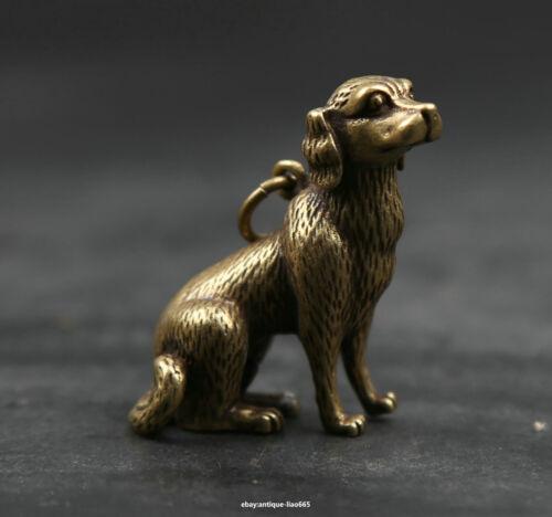 33MM Small Curio Chinese Bronze Lovable Zodiac Animal Dog Wealth Statue Pendant