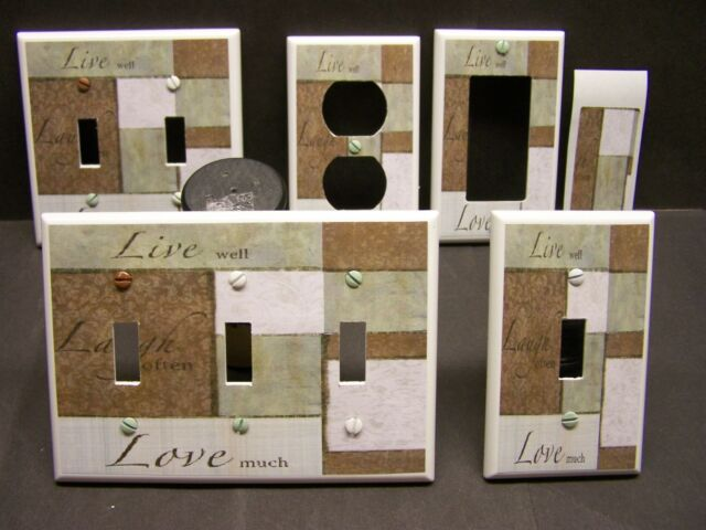 LIVE LAUGH LOVE GREEN AND BROWN PATCHWORK   LIGHT SWITCH COVER PLATE OR OUTLET