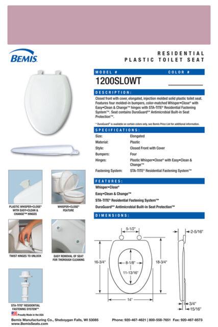 Bemis 1200SLOWT 563 Lift-Off Plastic Elongated Slow-Close Toilet Seat Orchid Clauss