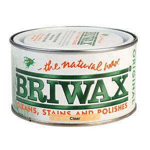 Briwax-CLEAR-Furniture-Wax-Polish-Wood-Cleaner-Restorer-400g-Natural-Tin