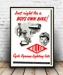 Poster Boys own bike Reproduction. old cycle dynamo advert Wall art