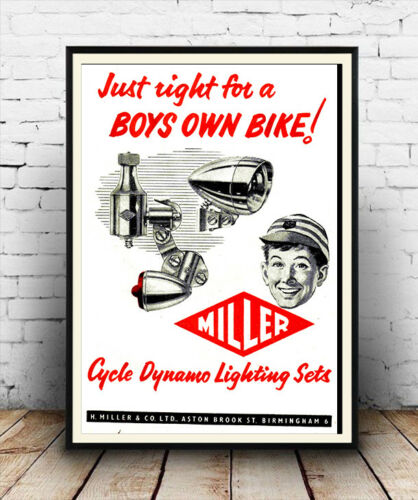 Poster Wall art Boys own bike Reproduction. old cycle dynamo advert