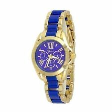 Gold Blue 2 Tone Designer Classy Fashion Watch Geneve Boyfriend