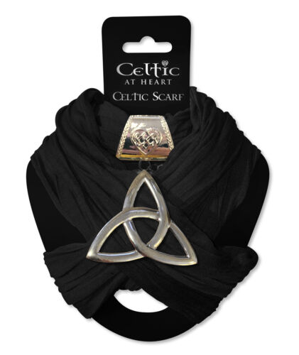 Celtic at Heart Large Charm Celtic Trinity Knot with Black Fashion Womens Scarf