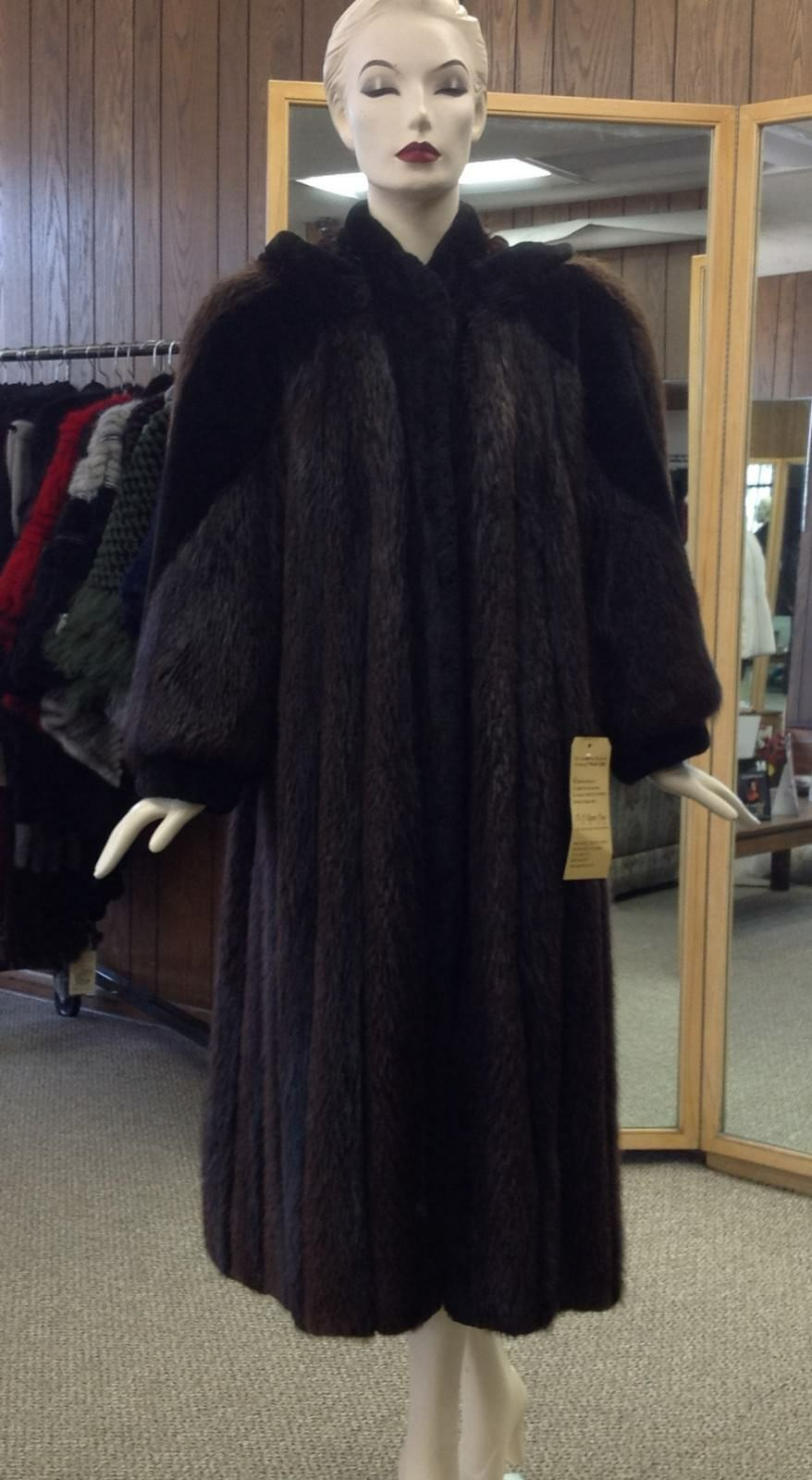 Long Hair Beaver Fur 48  Coat with Sheared Beaver and Detachable Hood, size 12