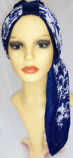 Headwear for hair loss. 2 piece Turban Hat and Scarf for chemo, alopecia, navy/w