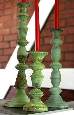 EDEL Kerzenständer Metall Deko Grün Shabby Chic Vintage Kerzenhalter Landhaus