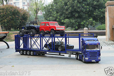 4-axis Large Aluminum Auto Car Cargo Semi Trailer for Tamiya 1/14 Tractor Truck