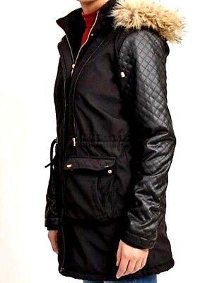 New Women/'s Brave Soul Jill Pu Sleeve Fur Trim Parka Jacket Black UK 10,16,20,22