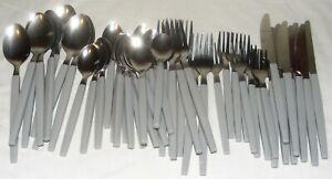 Vintage Stainless Steel Gray Melamine Plastic Handle 48 Piece Flatware Set