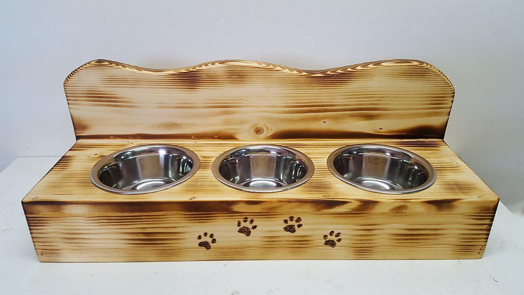 Katzen Futternapf Futterstation Futterbar aus Holz 3er mit Napf NEU  | Primäre Qualität