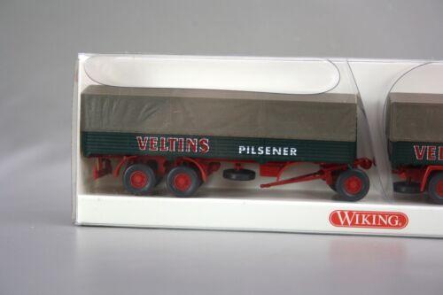 Wiking 1:87 Büssing BS 16 L Pritschen-Lastzug Veltins Pilsener grün 849 04 40