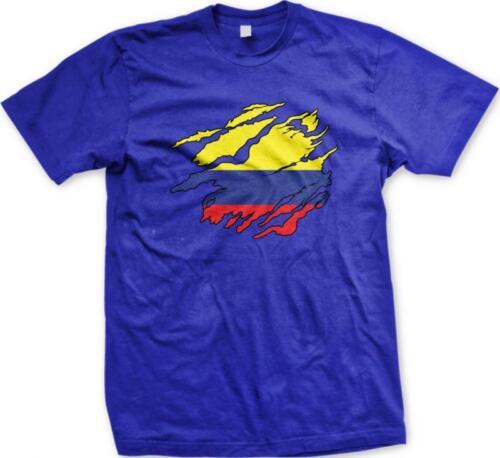 Colombia Shred Flag Colombian Pride Orgullo Bandera Colombiana Mens T-shirt